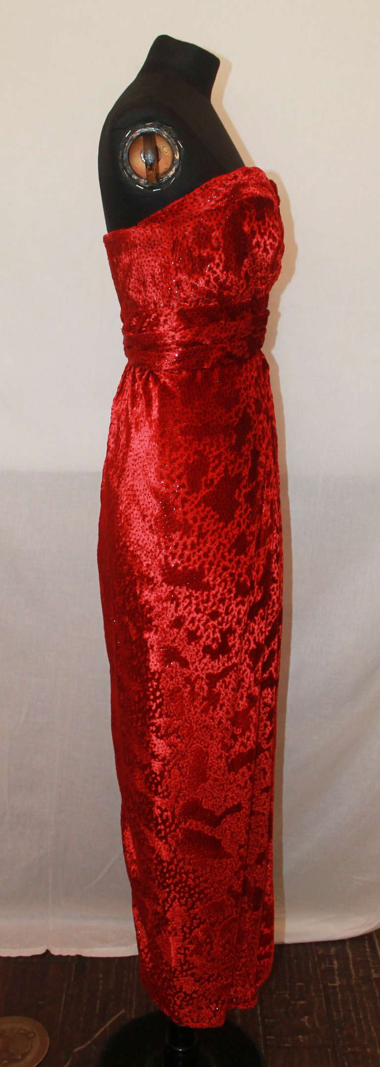 Carolyn Roehm Red Silk Pane Velvet Gown - 4 3