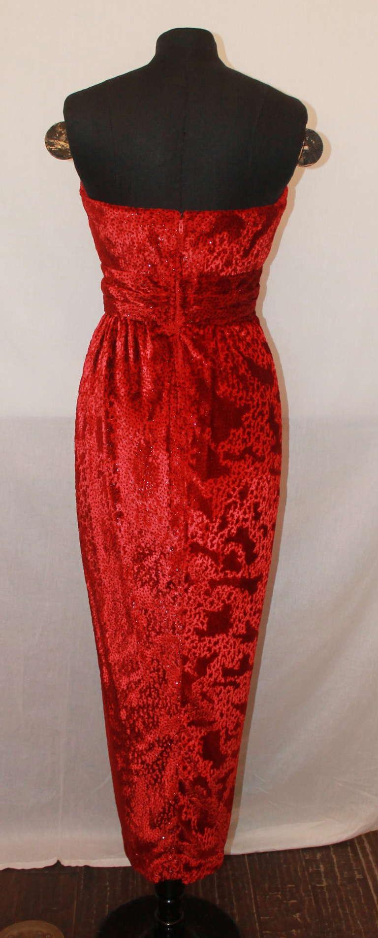 Carolyn Roehm Red Silk Pane Velvet Gown - 4 4