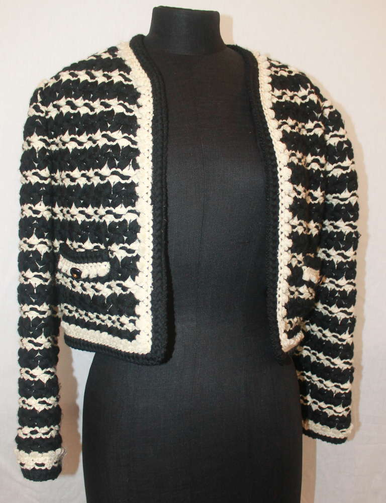 Chanel Vintage Black and White Crochet Jacket - 40 at 1stdibs