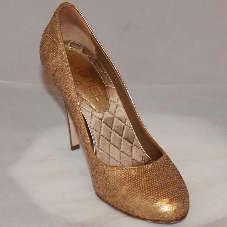 "Chanel Gold Sequin Covered Pumps with ""CC"" Back - Sz 40  2"