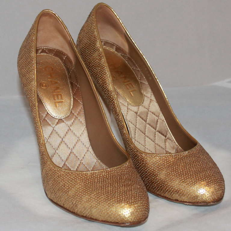 "Chanel Gold Sequin Covered Pumps with ""CC"" Back - Sz 40  5"