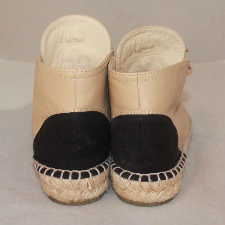 Chanel Beige & Black Leather Sneaker Espadrille - 6 4