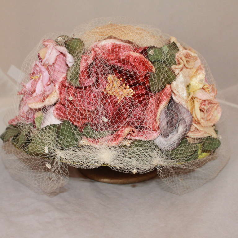 Brown Kokin New York Flower Veiled Hat - circa 1980s For Sale