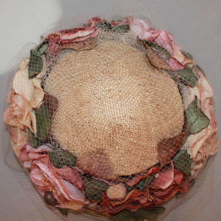Kokin New York Flower Veiled Hat - circa 1980s In Excellent Condition For Sale In Palm Beach, FL