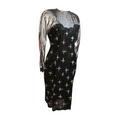Geoffrey Beene 1980's Vintage Black & Silver Long Sleeve Dress - 8