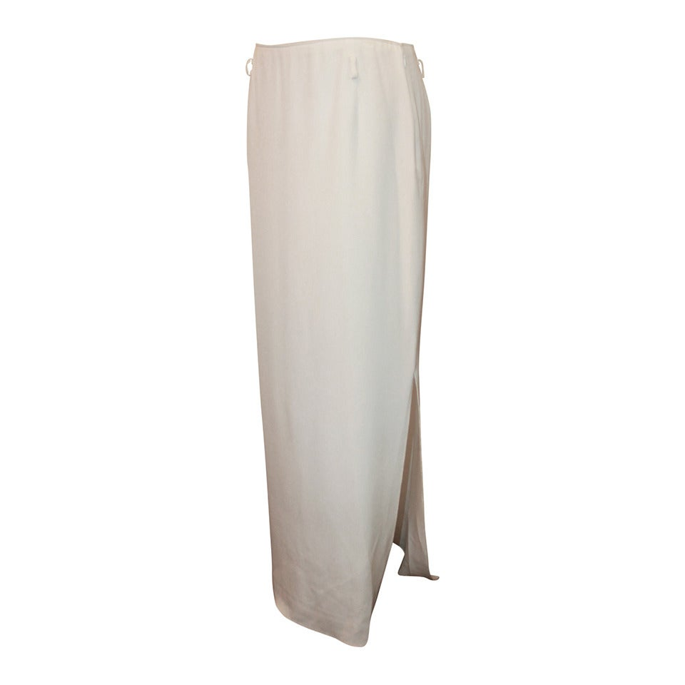 Oscar de la Renta 1990's Ivory Silk Long Skirt with Side Slit - 10