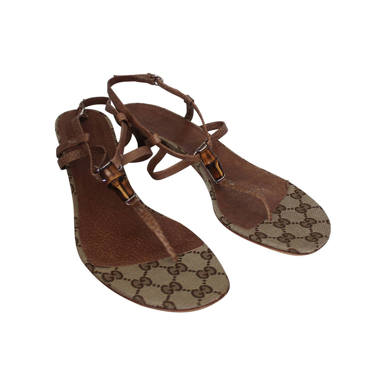 Gucci Brown Leather Thong Sandal with Bamboo Detail and Kitten ...