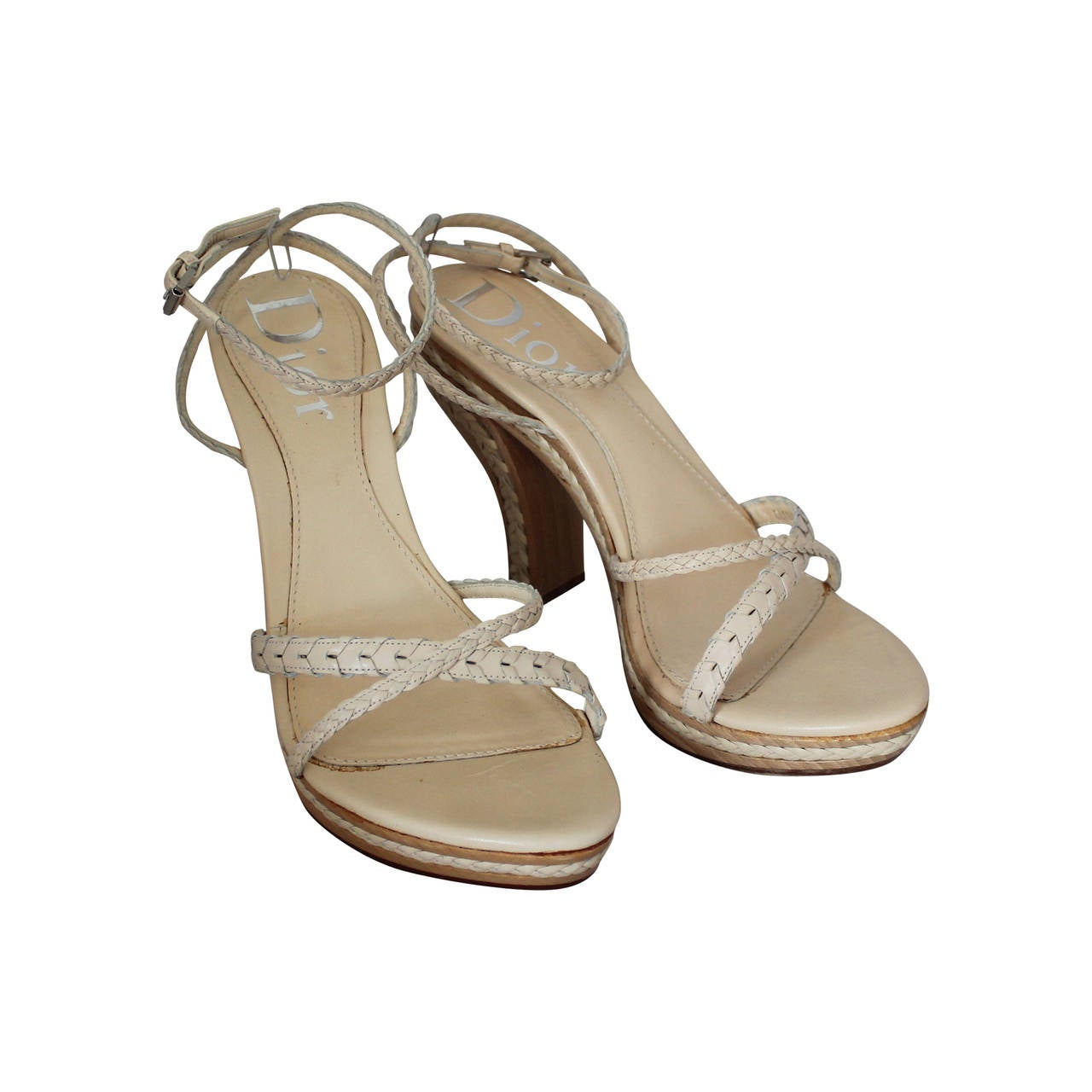 Christian Dior Creme Braided Leather Woodstack Heel - 38.5