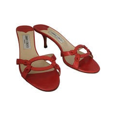 Jimmy Choo Coral Leather Cutout Sandals with Low Heel - 39.5