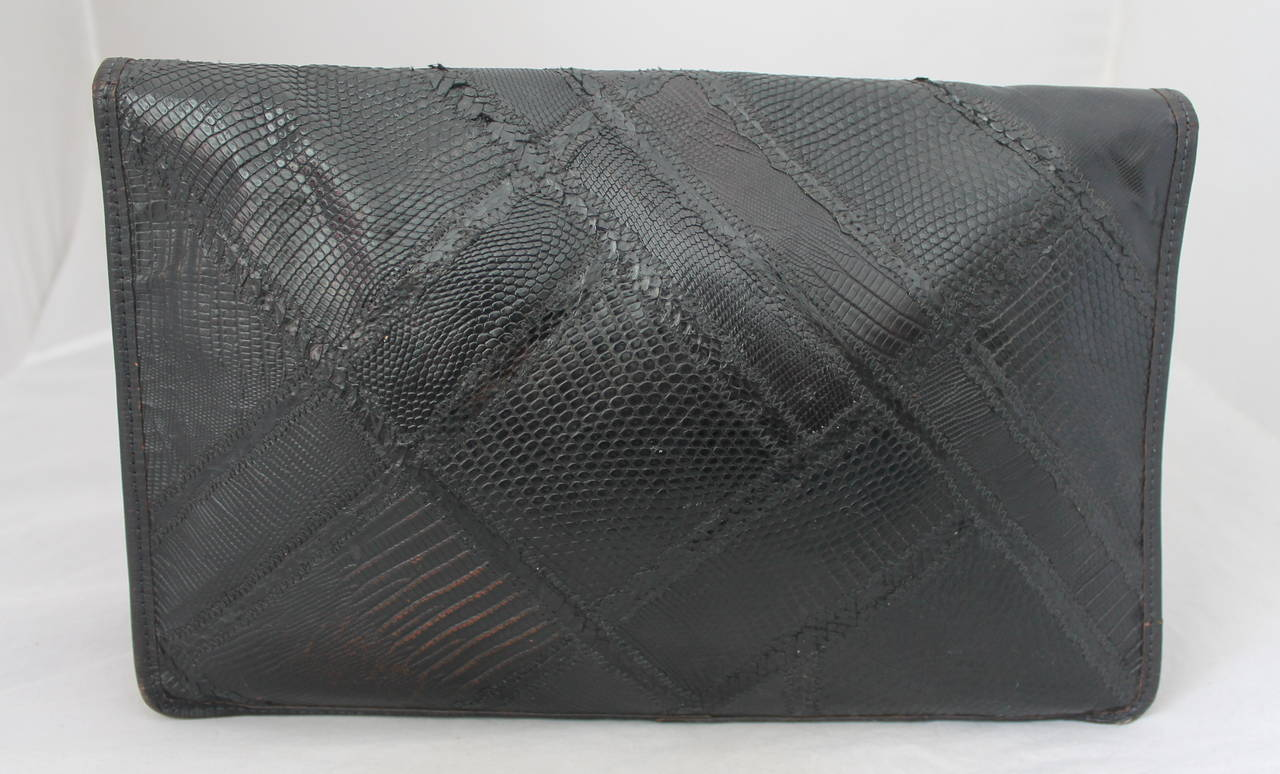 Carlos Falchi 1980's Vintage Dark Brown Lizard & Snake Patchwork Large Clutch 3