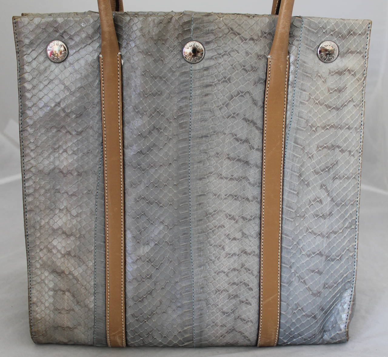 Prada Silver Snakeskin & Beige Leather Handbag 3