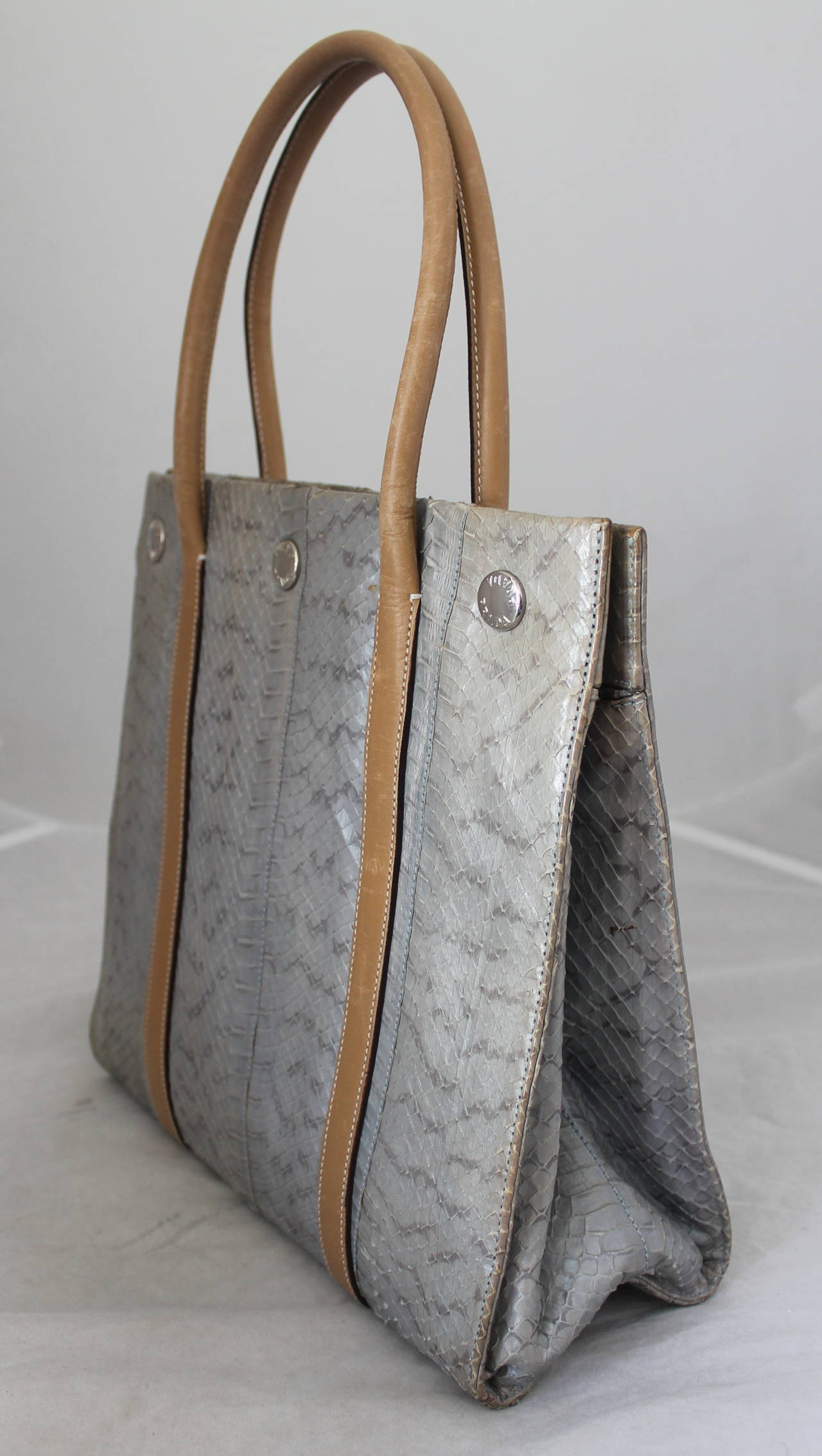 Prada Silver Snakeskin & Beige Leather Handbag 2