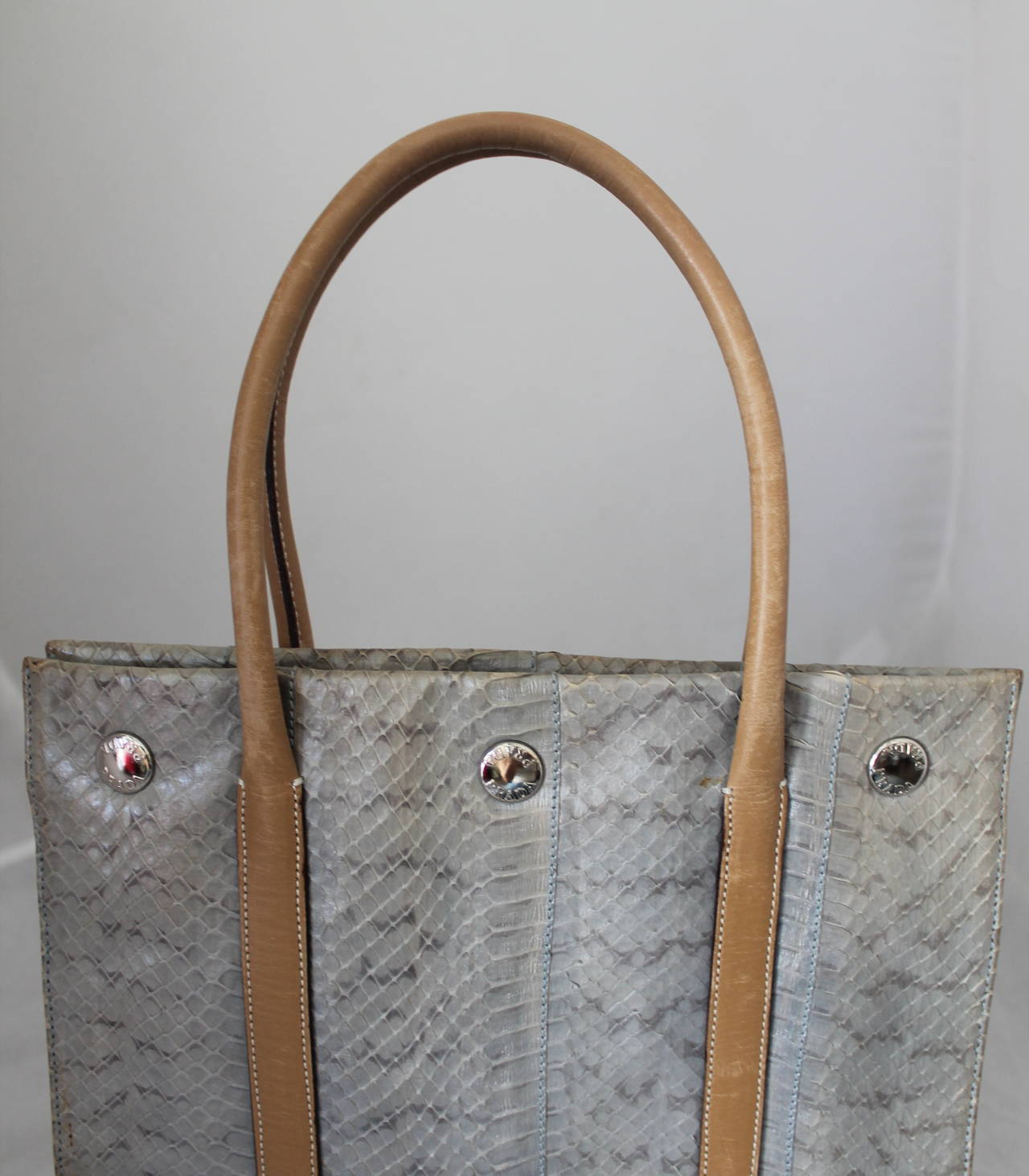 Prada Silver Snakeskin & Beige Leather Handbag 4