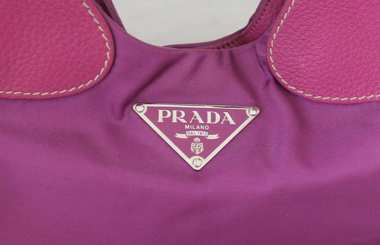 Prada Magenta Fabric & Leather Handbag 3