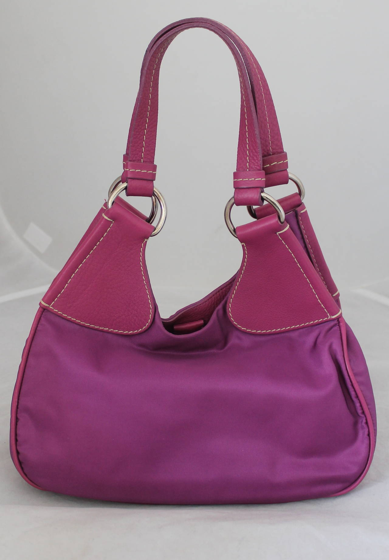 Prada Magenta Fabric & Leather Handbag 2