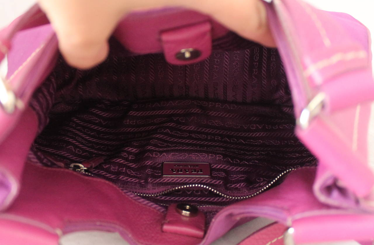 Prada Magenta Fabric & Leather Handbag 4