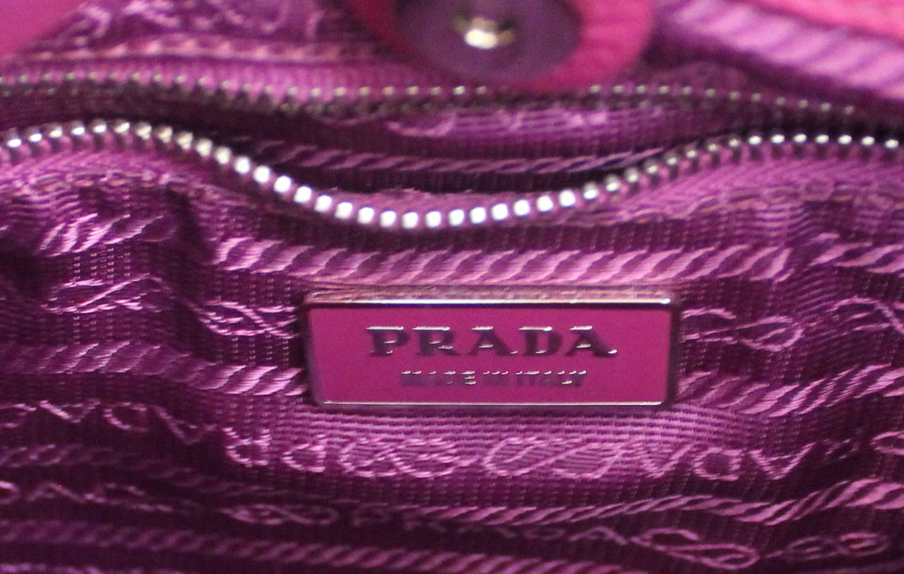 Prada Magenta Fabric & Leather Handbag 5