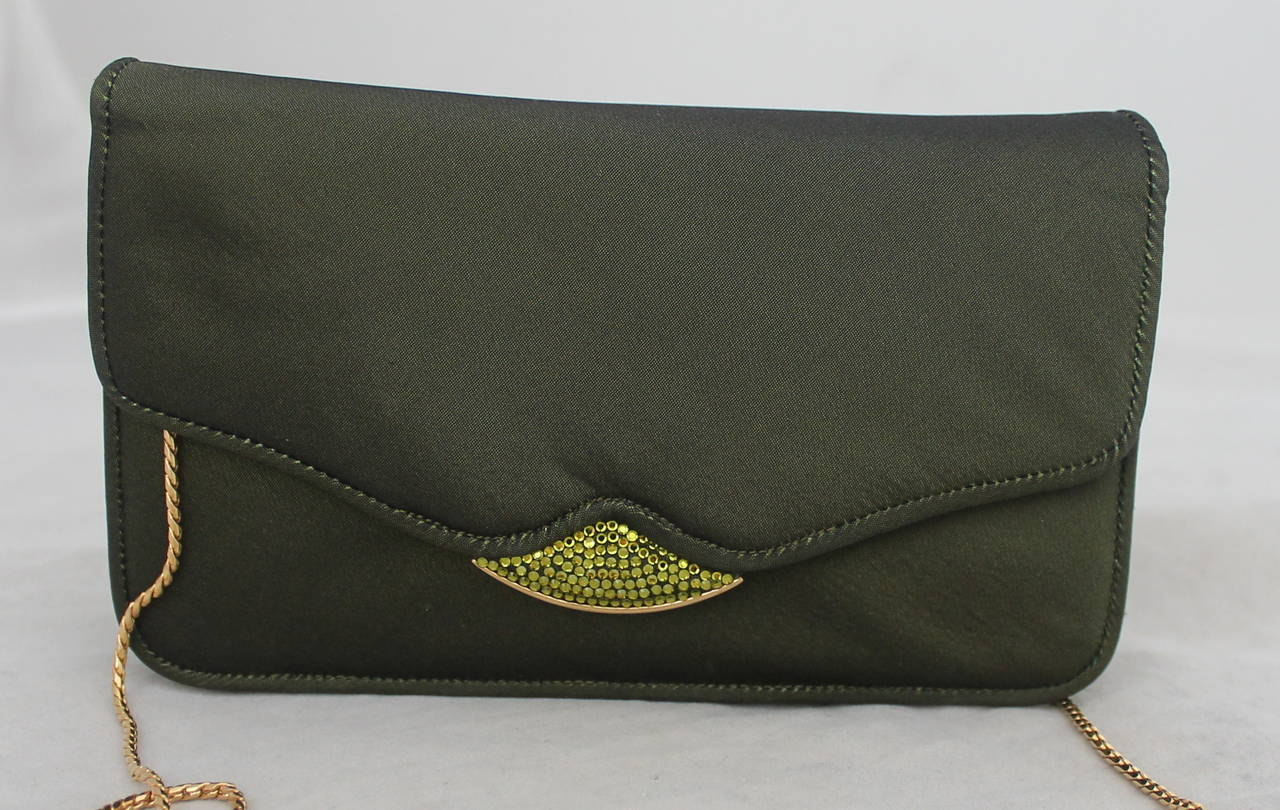 Judith Leiber Olive Satin Evening Bag & Clutch with Rhinestones. This bag is in very good condition with light wear. It has a long gold strap that can be removed. 