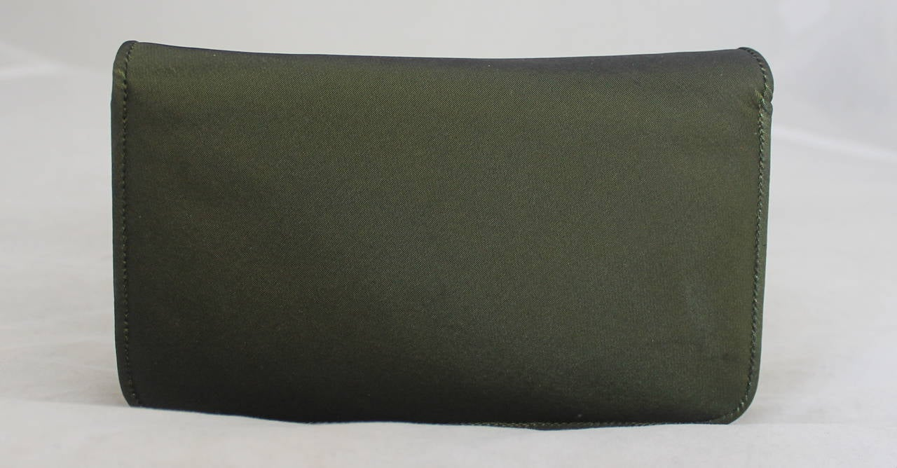 Black Judith Leiber Olive Satin Evening Bag & Clutch with Rhinestones For Sale