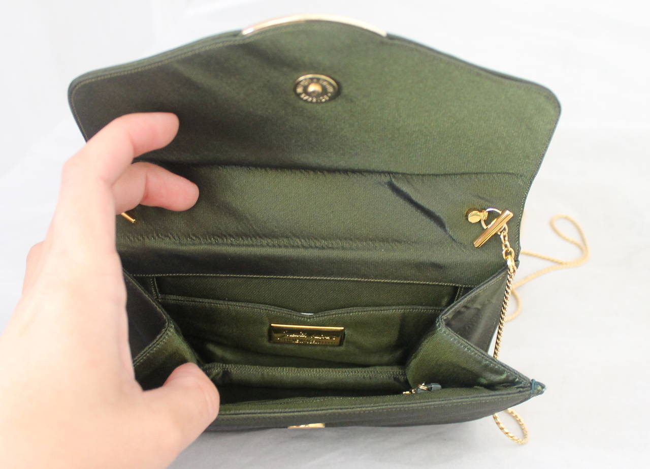 Judith Leiber Olive Satin Evening Bag & Clutch with Rhinestones In Good Condition For Sale In Palm Beach, FL