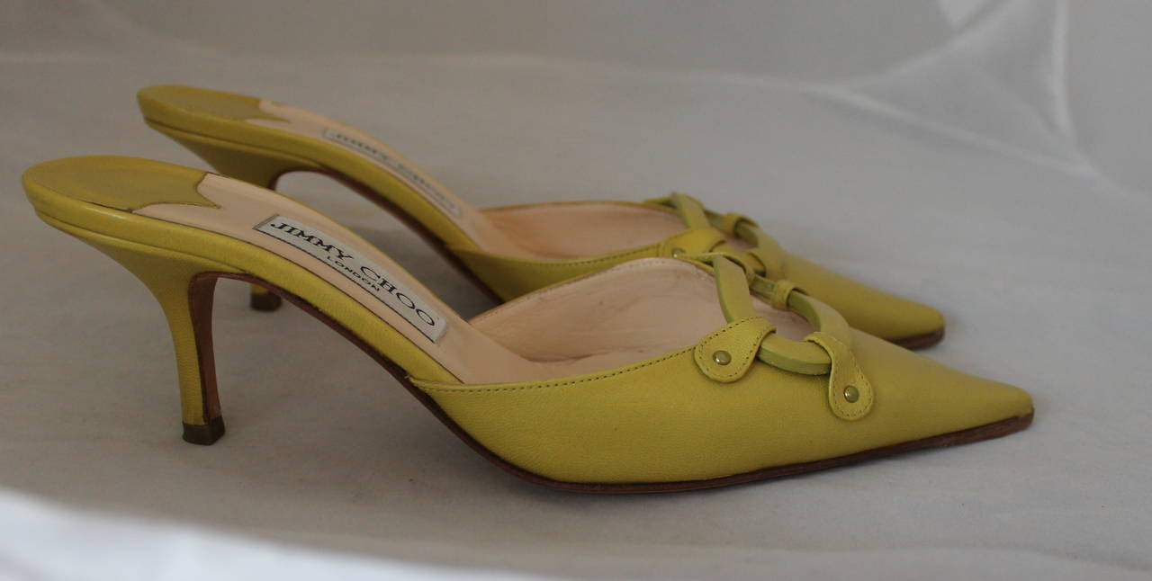 Brown Jimmy Choo Lime Green Leather Slides with Cutout Detail - 37.5 For Sale