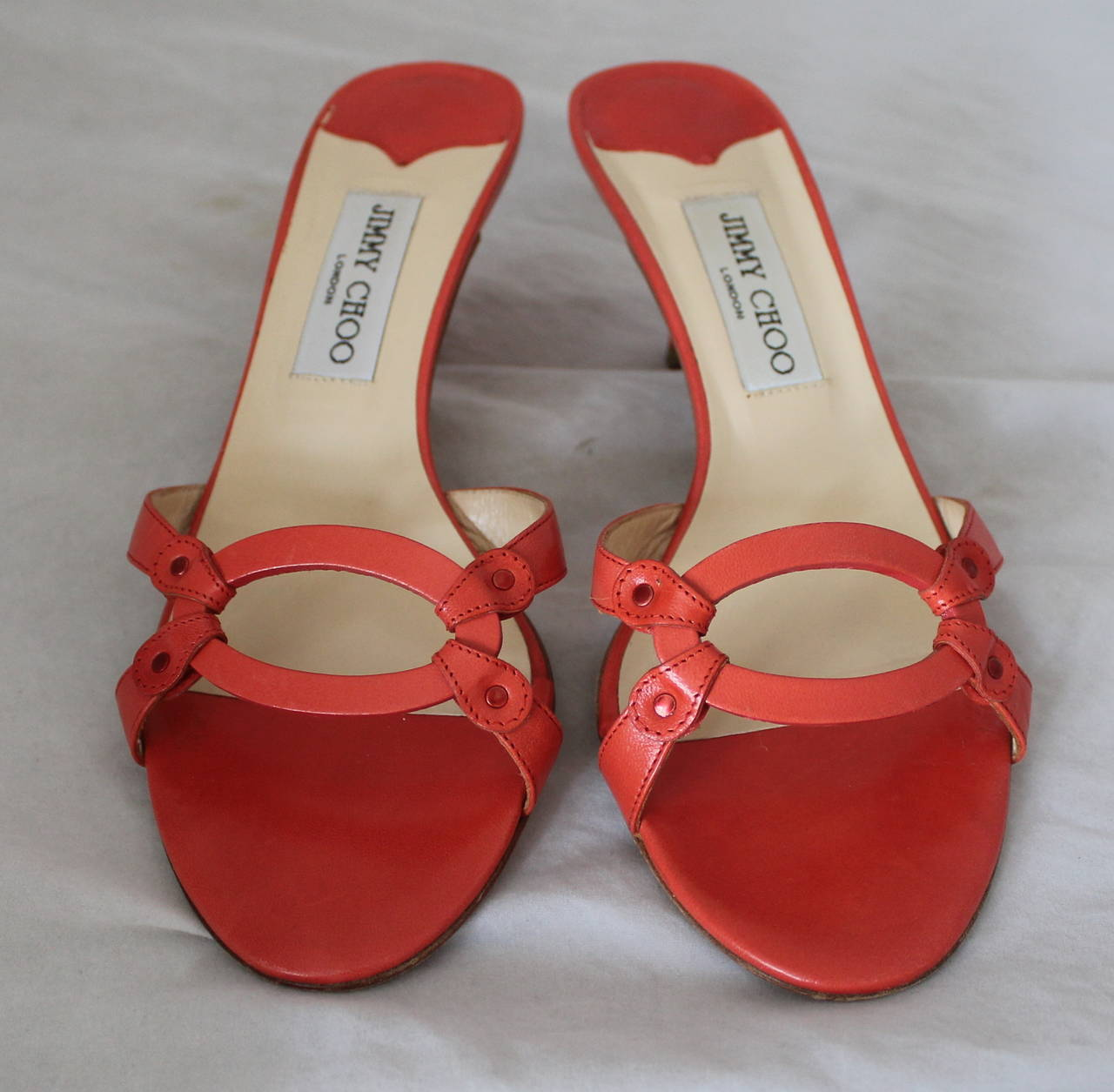 Jimmy Choo Coral Leather Cutout Sandals With Low Heel 39