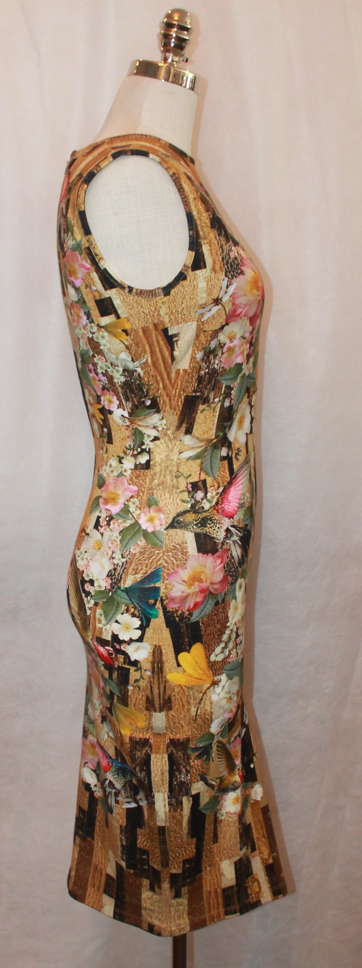 Brown Alexander McQueen 2013 Resort Hummingbird & Floral Print Fitted Dress - M For Sale