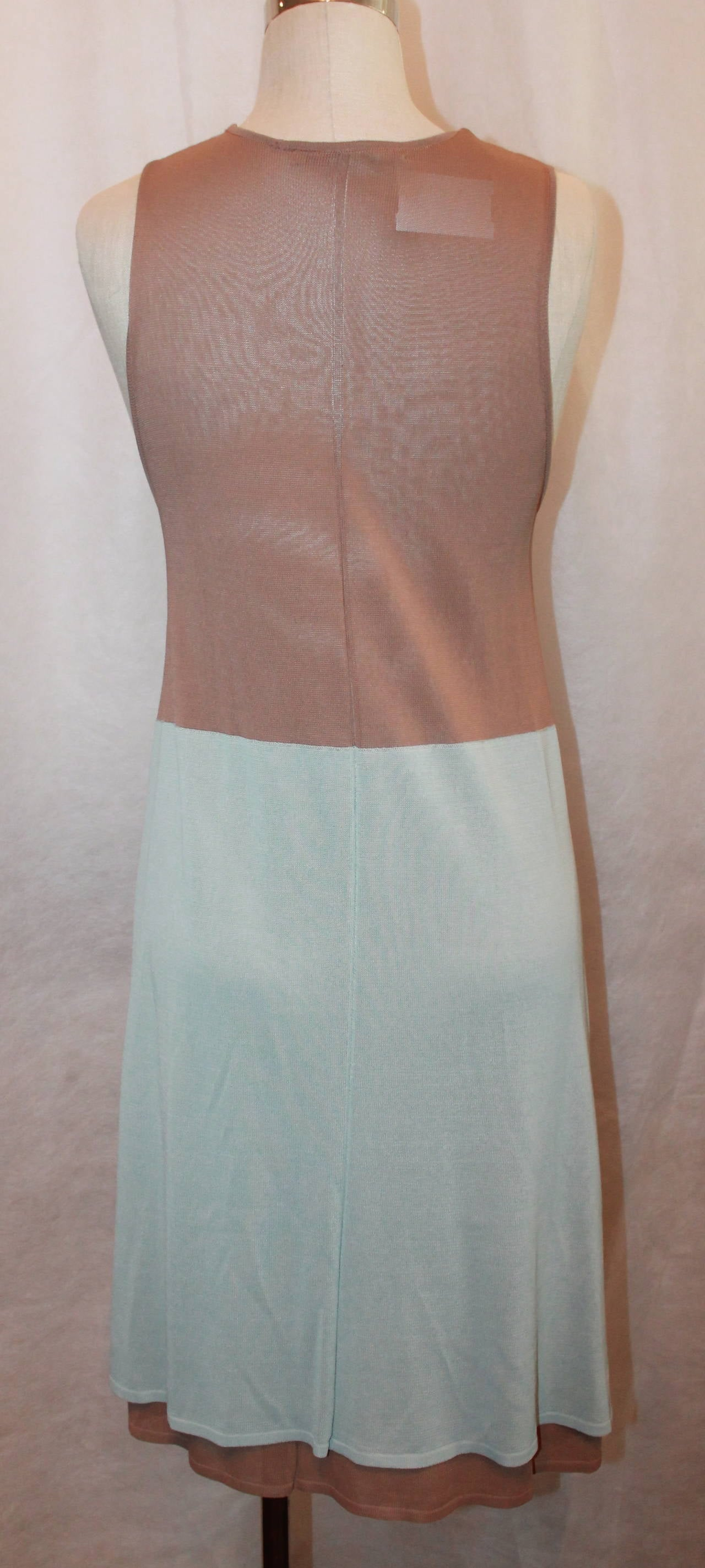 Balenciaga Tan And Pale Blue Sleeveless Dress 42 In Excellent Condition For Palm