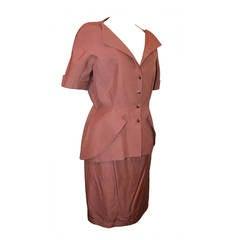 Thierry Mugler 1980's Brown Short Sleeve Skirt Suit - 44
