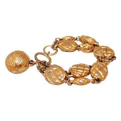 Chanel Vintage Gold Quilted Bracelet - Circa 1970s