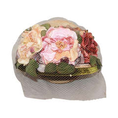 Kokin New York Flower Veiled Hat - circa 1980s
