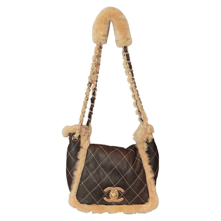 Chanel Brown Quilted Mini Shearling Handbag - Circa 2005 For Sale