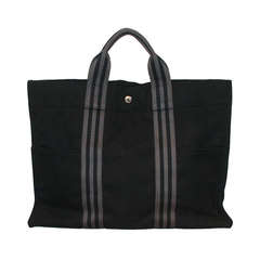 Hermes Black & Grey Canvas Tote