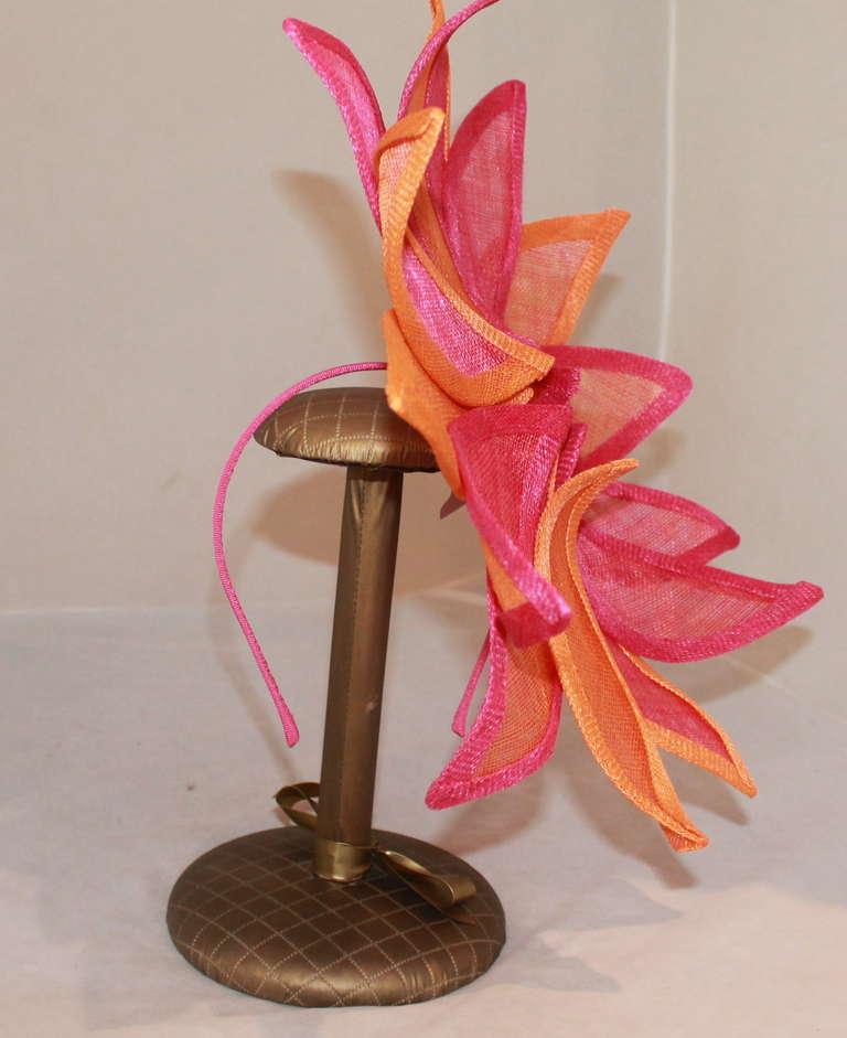 Herald & Heart Magenta & Orange Fascinator Hat 2