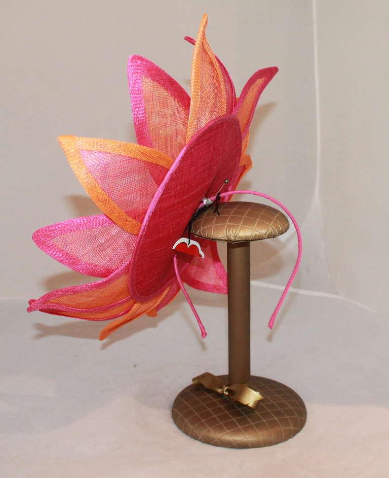 Herald & Heart Magenta & Orange Fascinator Hat 3