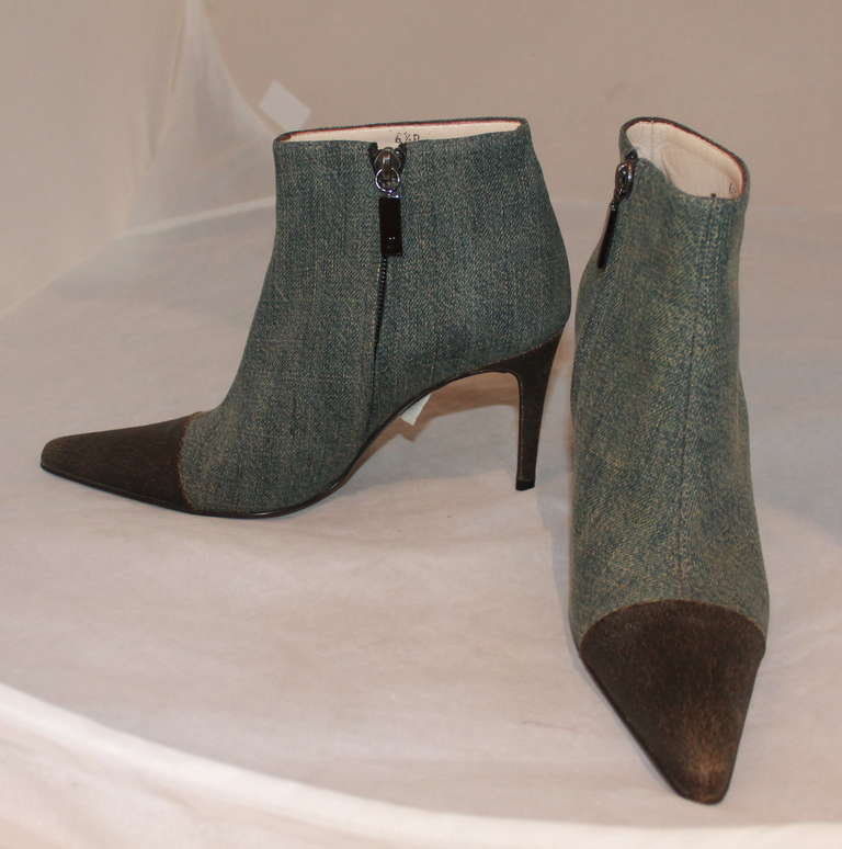 Chanel Denim Ankle Boots With Leather Toe 36 5 At 1stdibs
