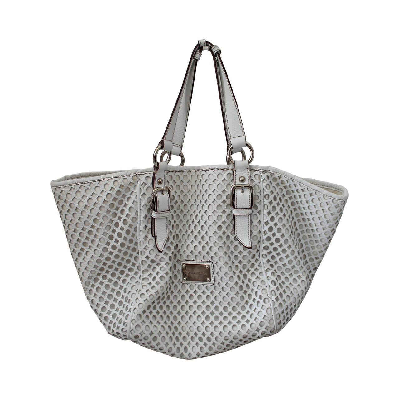 Dolce Gabbana White Perforated Leather Shoulder Bag For