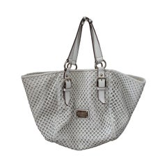 Dolce & Gabbana White Perforated Leather Shoulder Bag