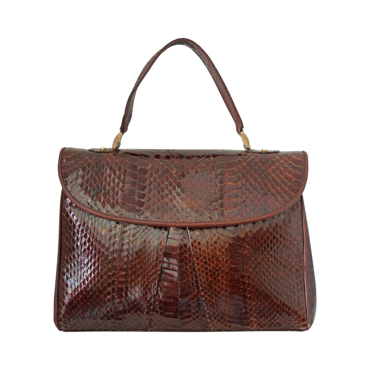 40fddbea3e6b 1960s Amipel Brown Snake Skin Top Handle Bag at 1stdibs