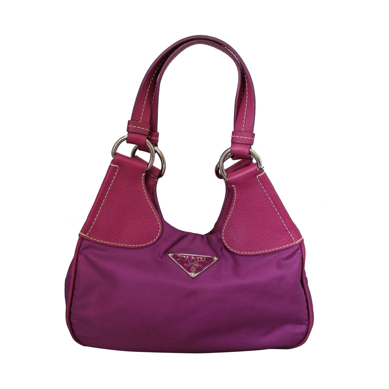 Prada Magenta Fabric & Leather Handbag 1