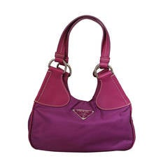 Prada Magenta Fabric & Leather Handbag