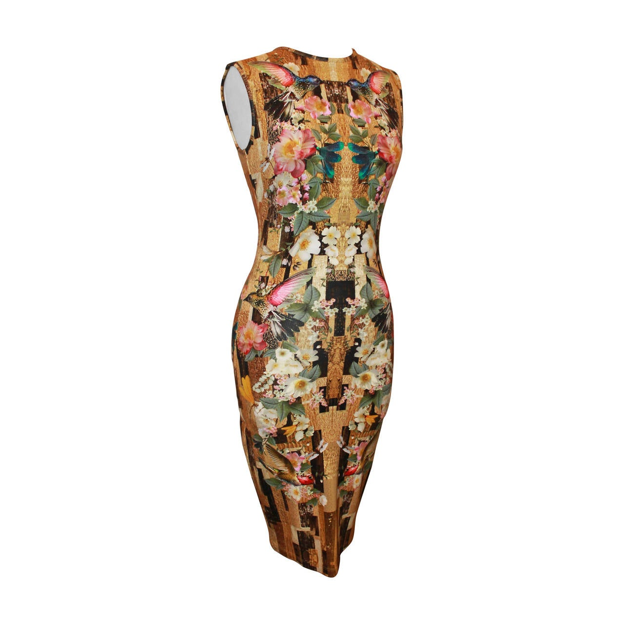 Alexander McQueen 2013 Resort Hummingbird & Floral Print Fitted Dress - M For Sale