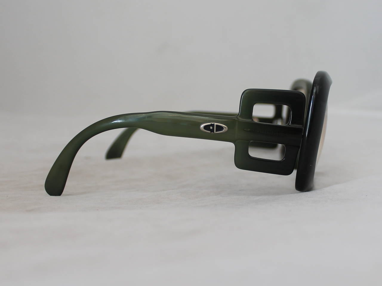Black Christian Dior 1970's Vintage Olive Square Sunglasses For Sale