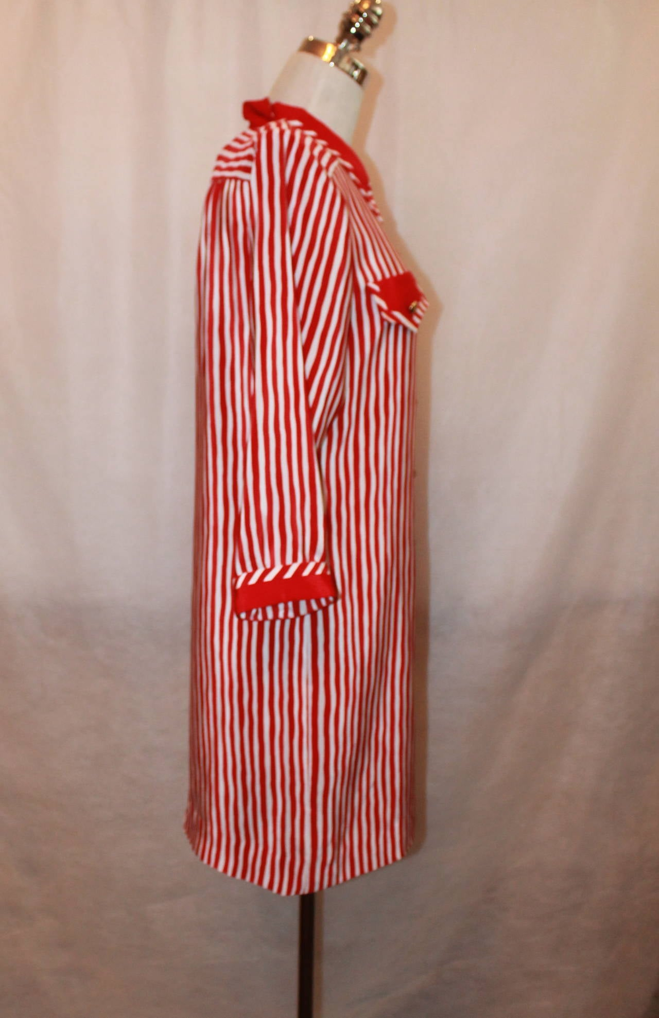 Vintage 1960s Adolfo Red and White Stripe Long Shirt Dress - M 2