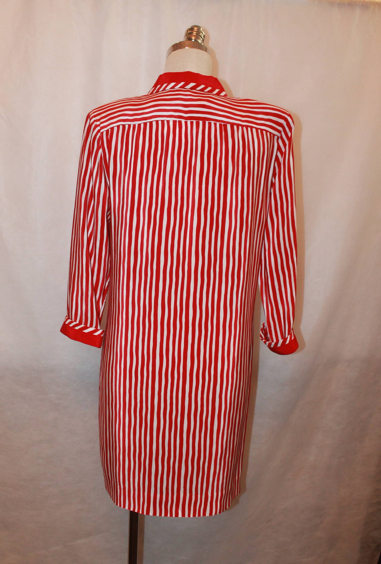 Vintage 1960s Adolfo Red and White Stripe Long Shirt Dress - M 3