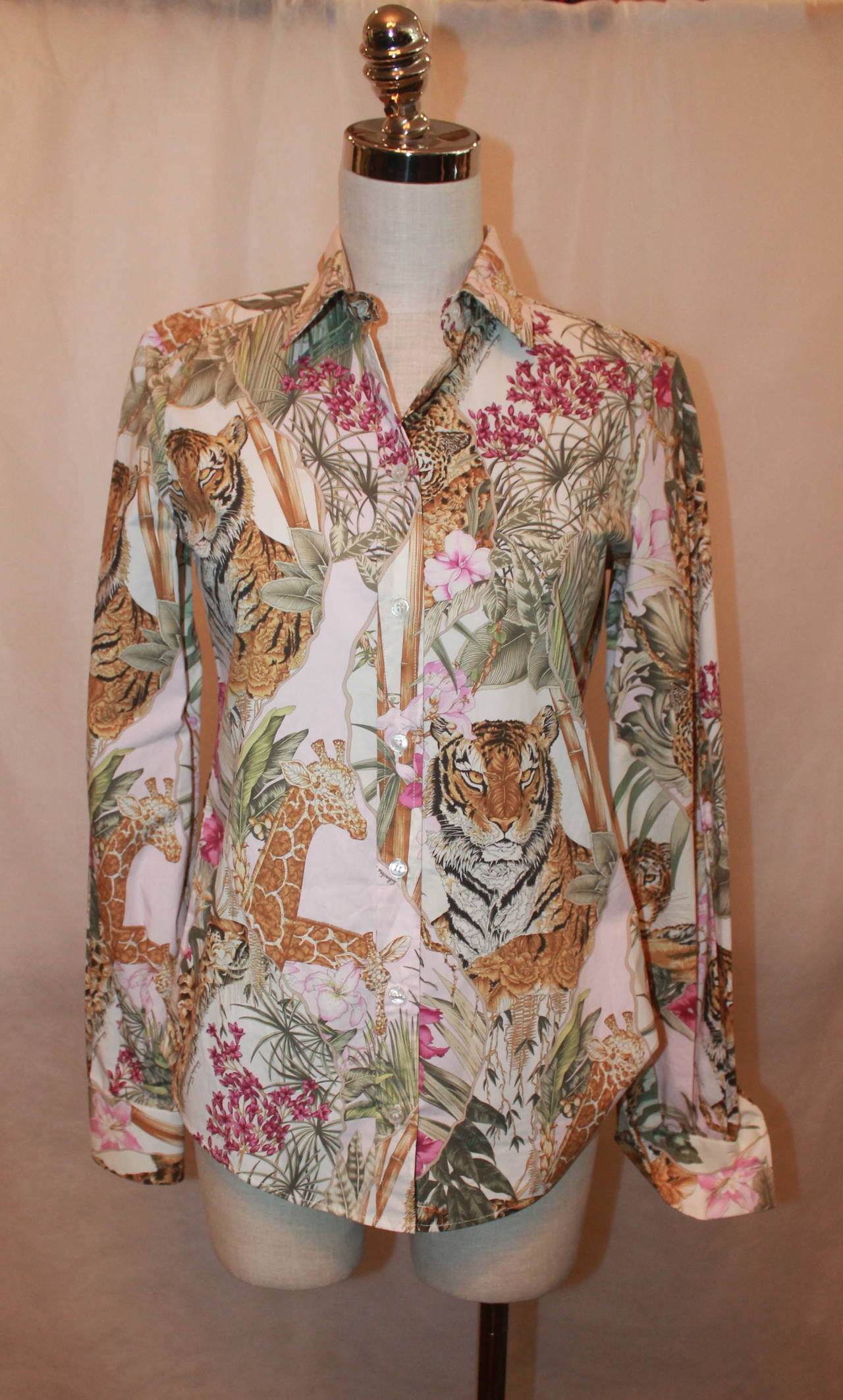 Salvatore Ferragamo Multi Color Jungle Print Long Sleeve Shirt - 40 2