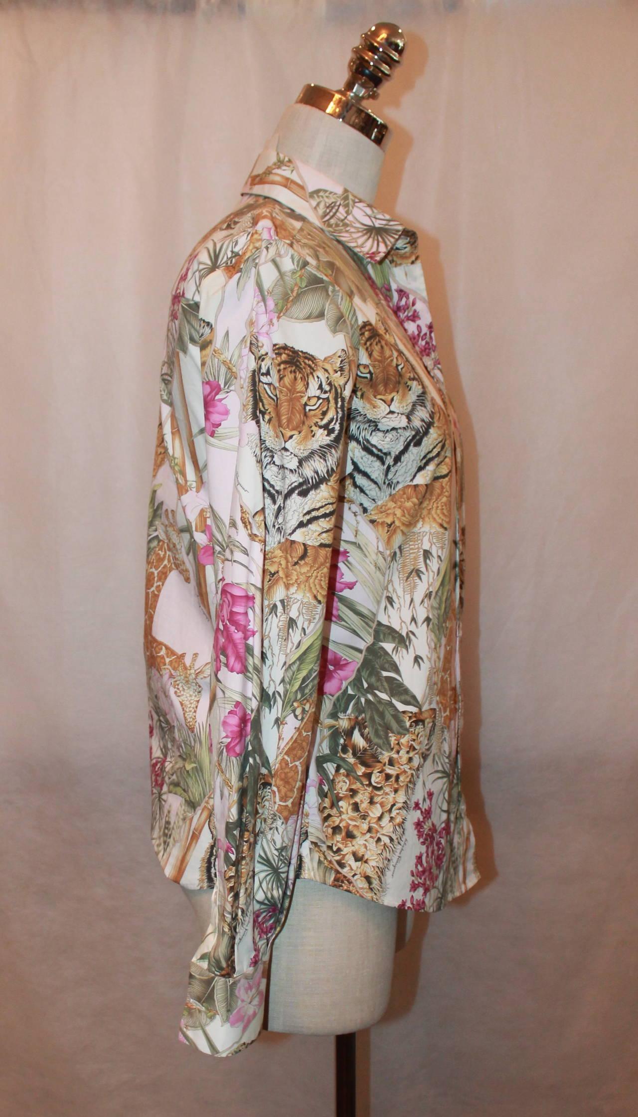 Salvatore Ferragamo Multi Color Jungle Print Long Sleeve Shirt - 40 3