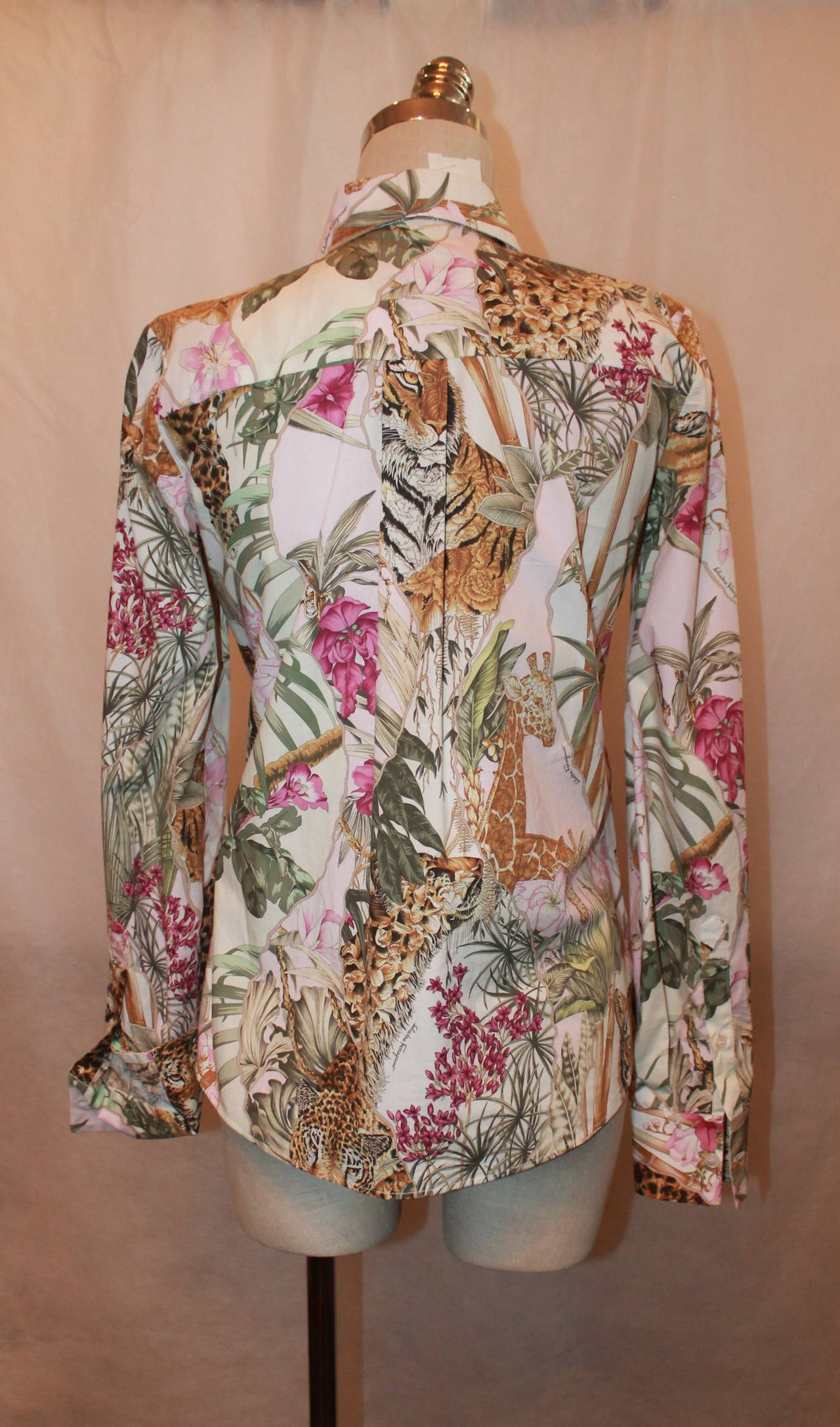 Salvatore Ferragamo Multi Color Jungle Print Long Sleeve Shirt - 40 4