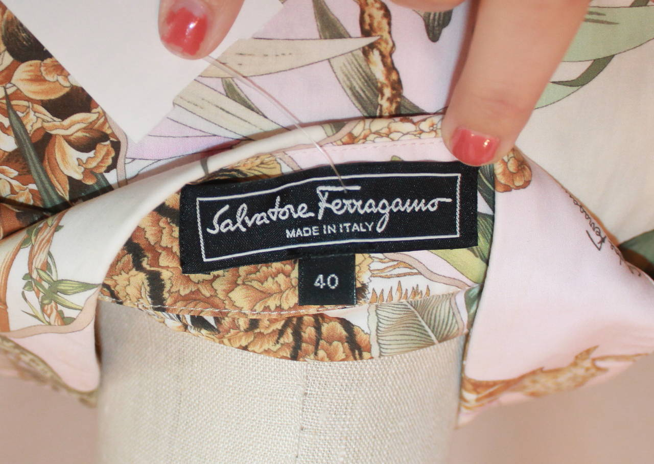 Salvatore Ferragamo Multi Color Jungle Print Long Sleeve Shirt - 40 5