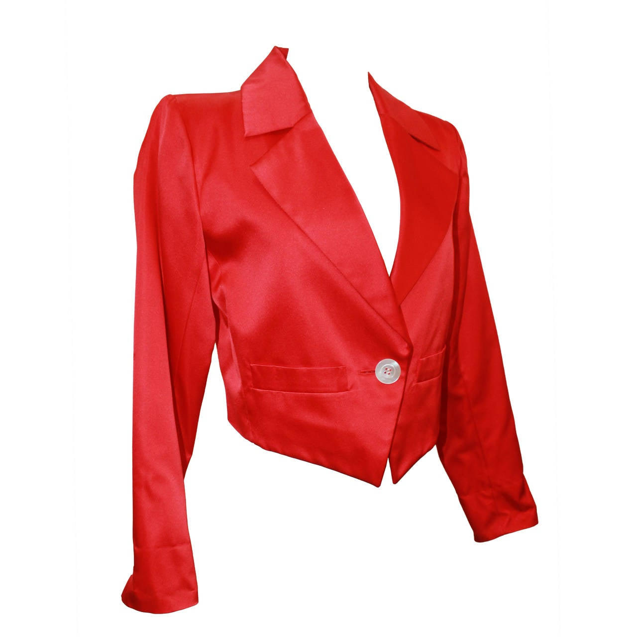 d5d618b4a8d Vintage 1990s Yves Saint Laurent Red Satin Bolero Jacket - 36 For Sale at  1stdibs